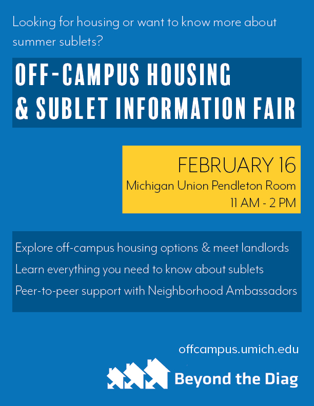 Off Campus Housing And Sublet Information Fair Flyer