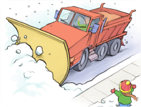 Cartoon plow truck and snow