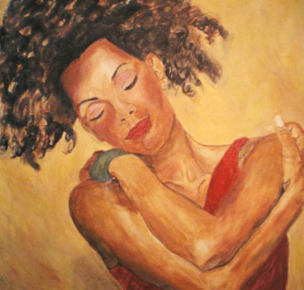 Artwork of a woman hugging herself.