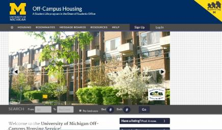 Screenshot of Off Campus Housing site