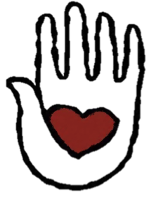 This is an image of the SAPAC logo comprised of a black and white hand with a heart in the middle.