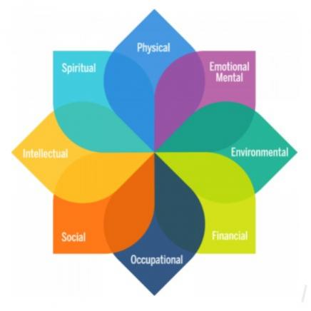 Wellness diagram featuring the 8 dimensions of well-being