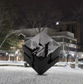 picture of michigan spinning cube covered in snow