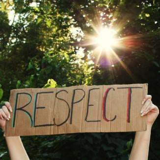 sign with the word respect