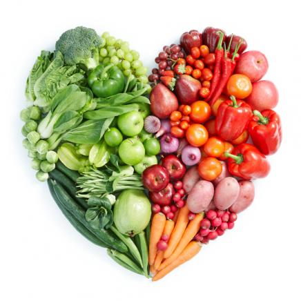 Heart made of red and green vegetables