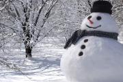 Snowman with hat and scarf.
